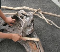流木ワイヤーブラシかけ