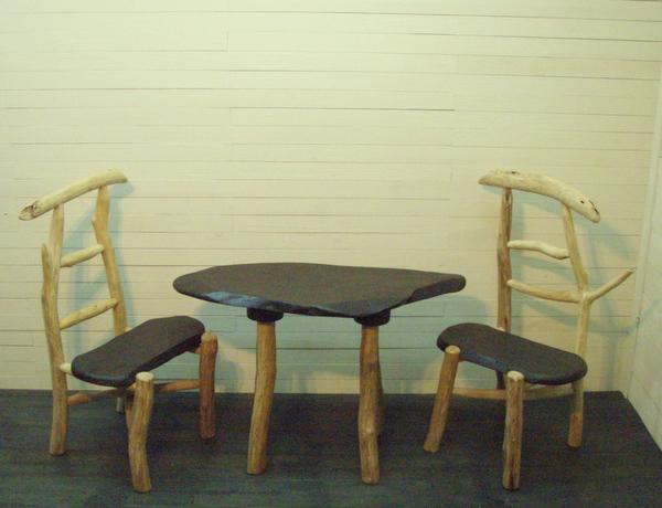 画像1: 流木椅子・テーブル3点 ...